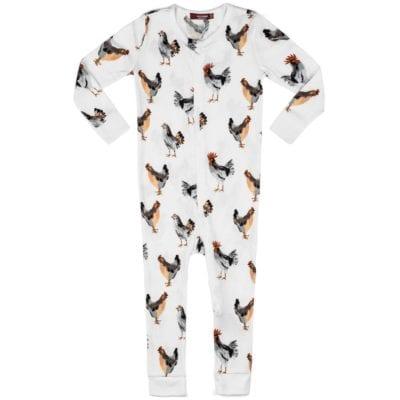 Milkbarn Kids Organic Cotton Zipper Pajama or PJs in the Chicken Print