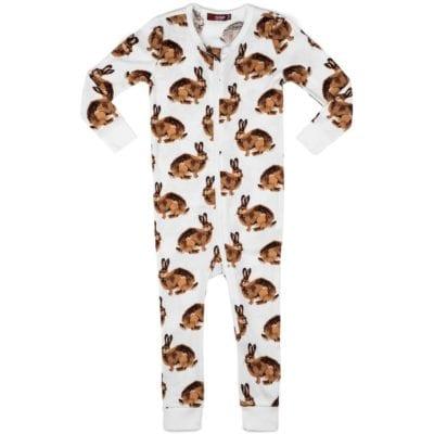 Milkbarn Kids Organic Cotton Zipper Pajama or PJs in the Bunny Print