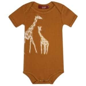 Orange or Rust Colored Organic Cotton One Piece or Onesie with the Orange Giraffe Applique by Milkbarn Kids