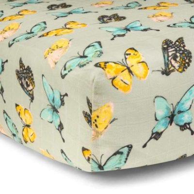 Butterfly Bamboo Muslin Fitted Crib Sheet by Milkbarn Kids
